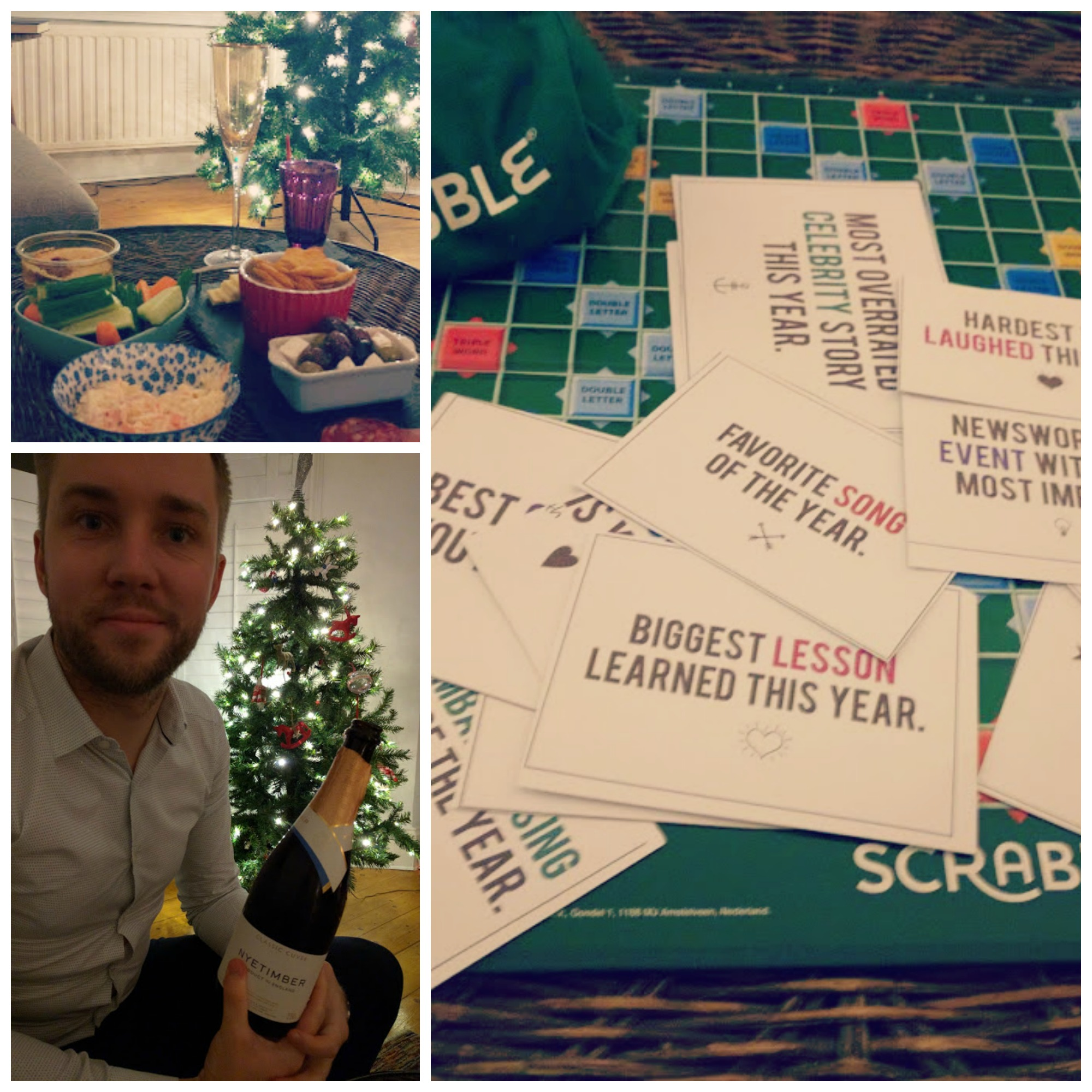 New Year's Eve Champagne, Scrabble and Snacks